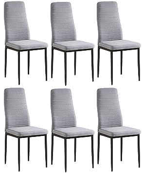 Juego de 6 sillas Yuri, tapizadas con tela gris, patas color negro, 97 x 40 x 40 cm