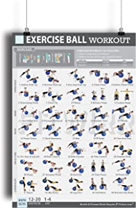 "19""x27"" Exercise Ball Workout Poster Laminated - 35 Stability Ball Exercises - Total Body Fitness - Home/Gym Fitness Balance Ball - Work Your Core, Abs, Legs, Arms - Rehabilitation Posture Exercises"