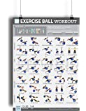 """19""""x27"""" Exercise Ball Workout Poster Laminated - 35 Stability Ball Exercises - Total Body Fitness - Home/Gym Fitness Balance Ball - Work Your Core, Abs, Legs, Arms - Rehabilitation Posture Exercises"""