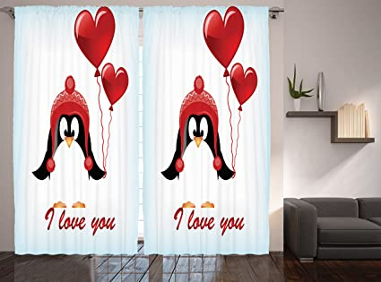 Ambesonne Valentines Decor Happy Birthday Balloons Penguin Quotes I Love You Painting Window Treatments
