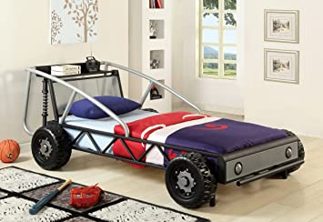 Amazon Com Furniture Of America Max Metal Car Bed Twin Red And Yellow Kitchen Dining