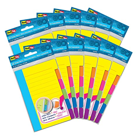 Redi-Tag Divider Sticky Notes, Tabbed Self-Stick Lined Note Pad, 60 Ruled Notes per Pack, 4 x 6 Inches, Assorted Neon Colors, 12 Pack (29512)