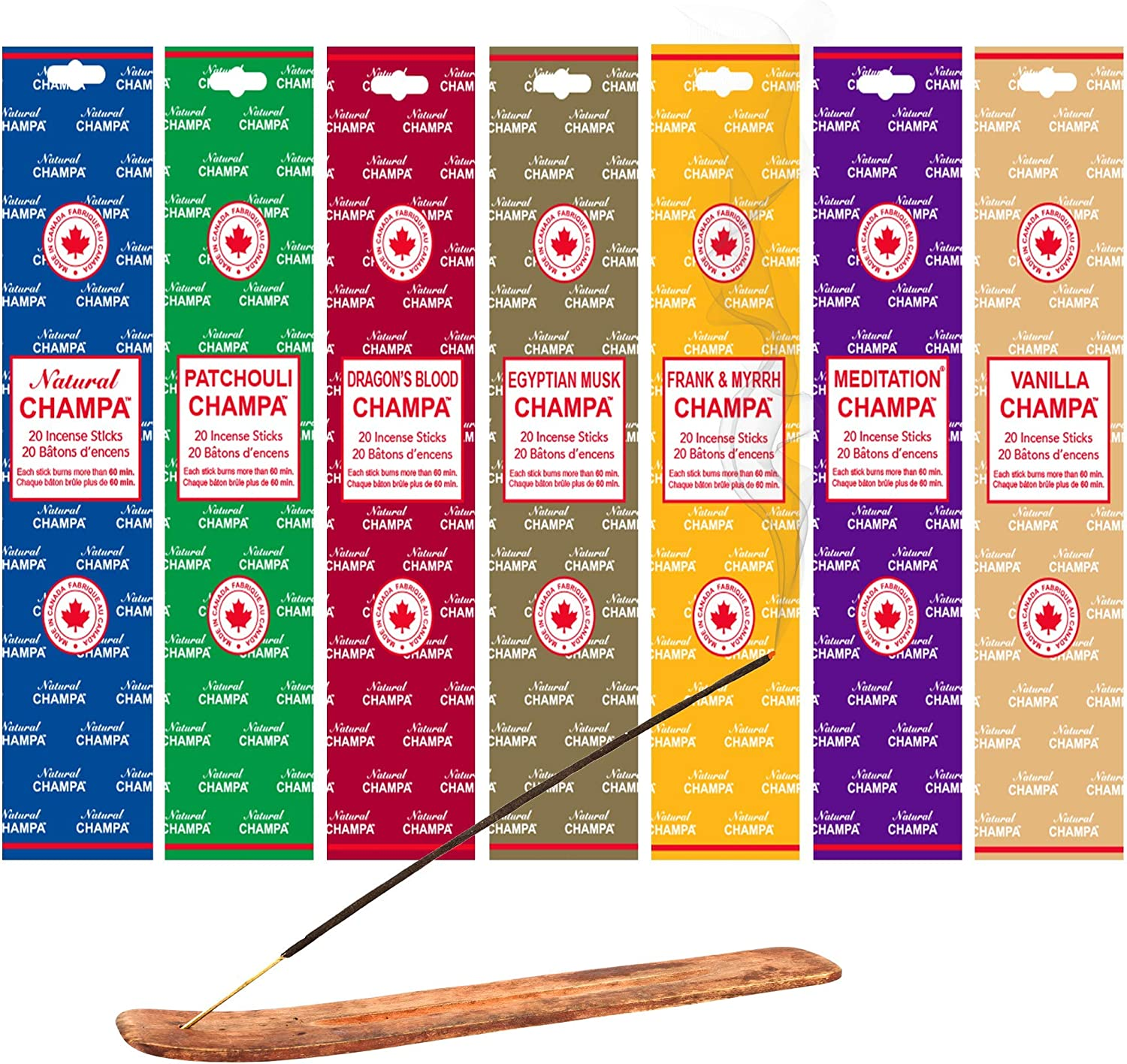 Natural Champa Meditation Incense Set - 140x 60 Minute Sticks with Complimentary Wood Burner - Hand Dipped - Also Perfect for Environmental Scenting and Purification