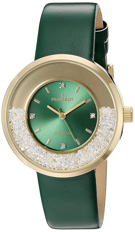 Peugeot Damen Echten Diamanten Marker Gold Ton Floating Kristall Armbanduhr