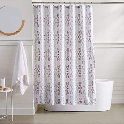 Image Unavailable Not Available For Color AmazonBasics Geometric Boho Shower Curtain