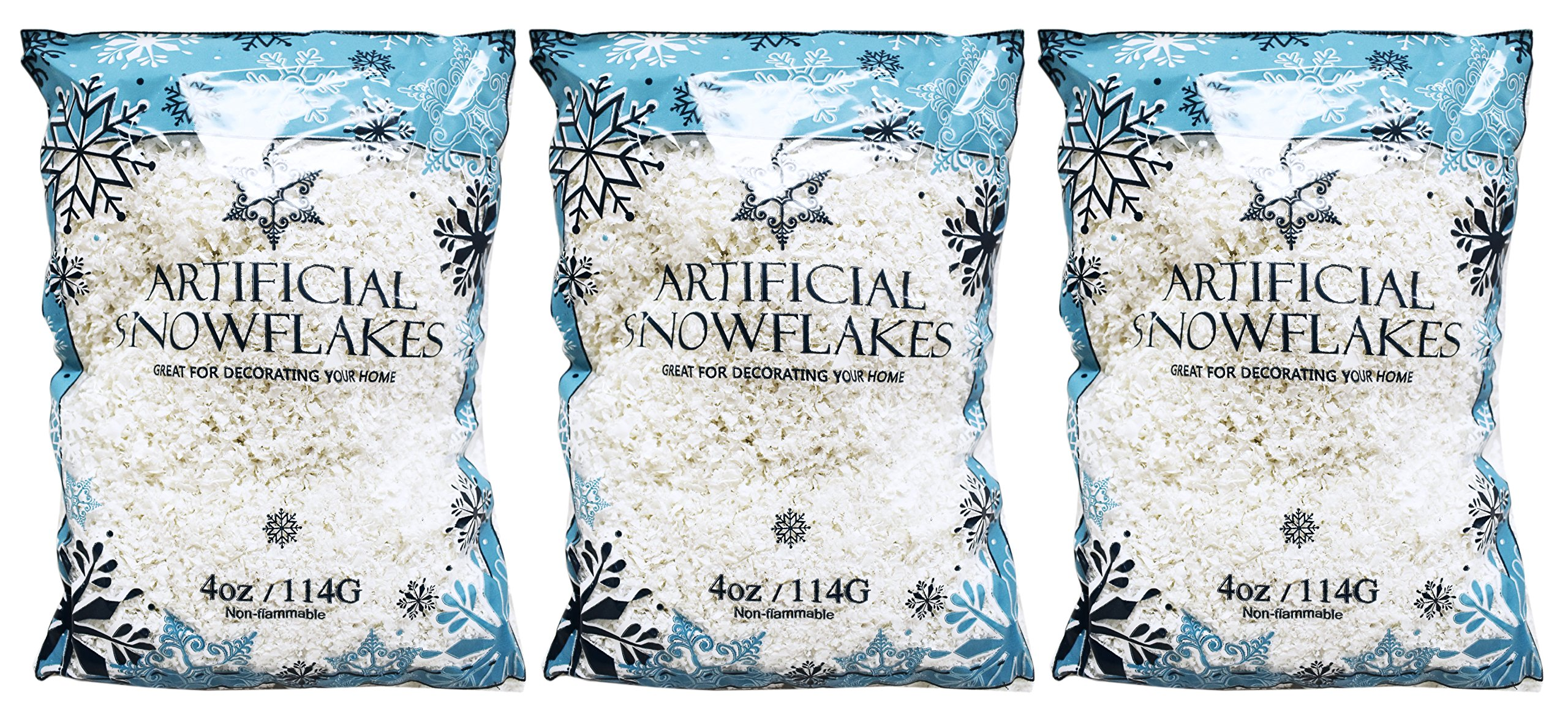 Set of 12 Ounces of Artificial Snow Flakes 4 Oz Bags Blue Printed Polybag by Regent
