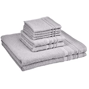 AmazonBasics Cosmetic Friendly Towel Set - 8-Piece Set, Silver Sheen