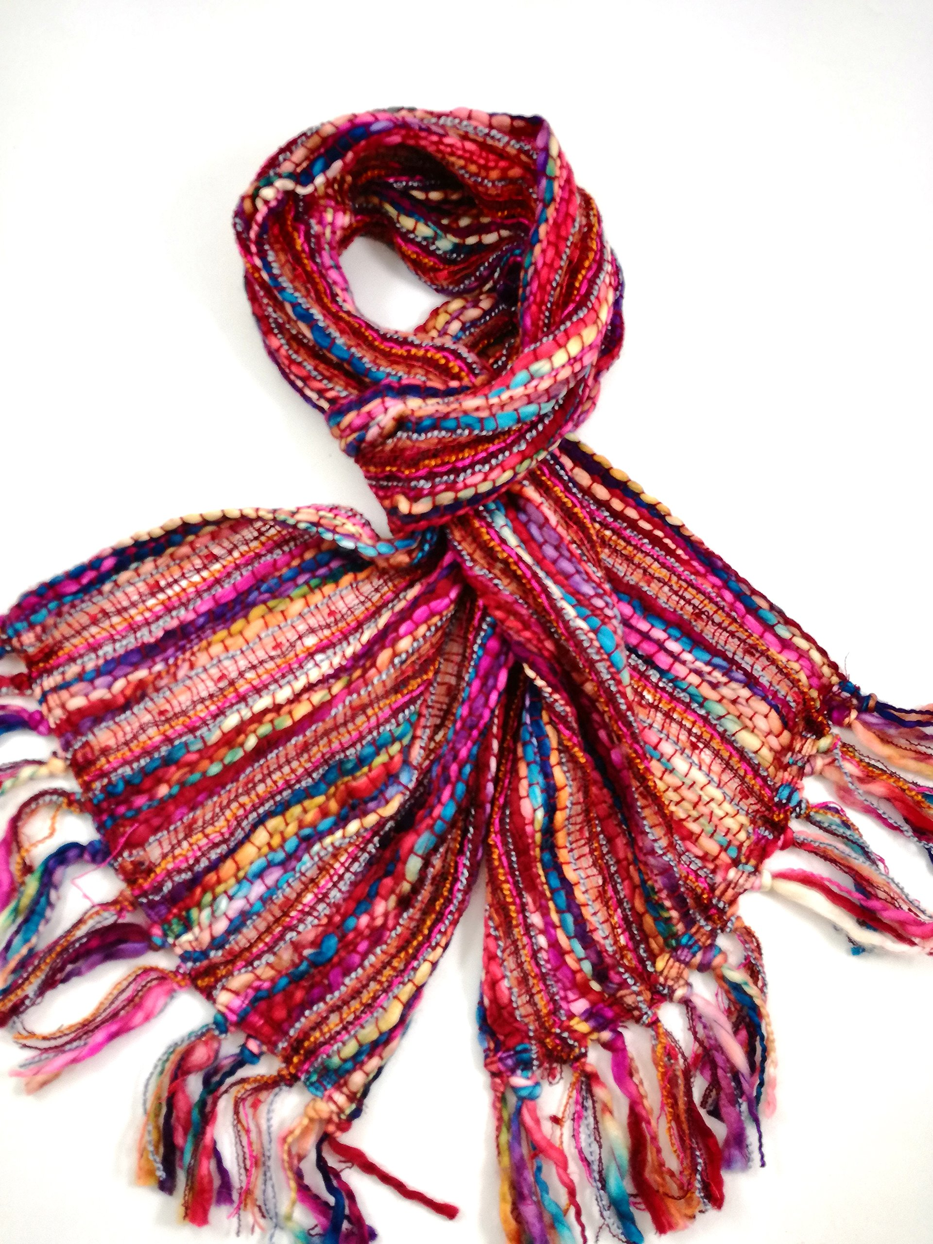 Ladies Rainbow Weave Scarf - Vibrant All Year Round Scarves (Pink)