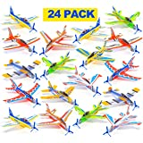 Prextex 25 Pack Large 8'' Flying Foam Glider Planes for Kids Birthday Party Favors for Kids DIY Take Apart Airplane Gliders