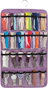 Watch Band Holder, Hanging Watch Strap Holder Compatible with Watches, Watch Band Storage Organizer Stores 48 Watch Bands, or Organizer for 24 Watches.(Purple)