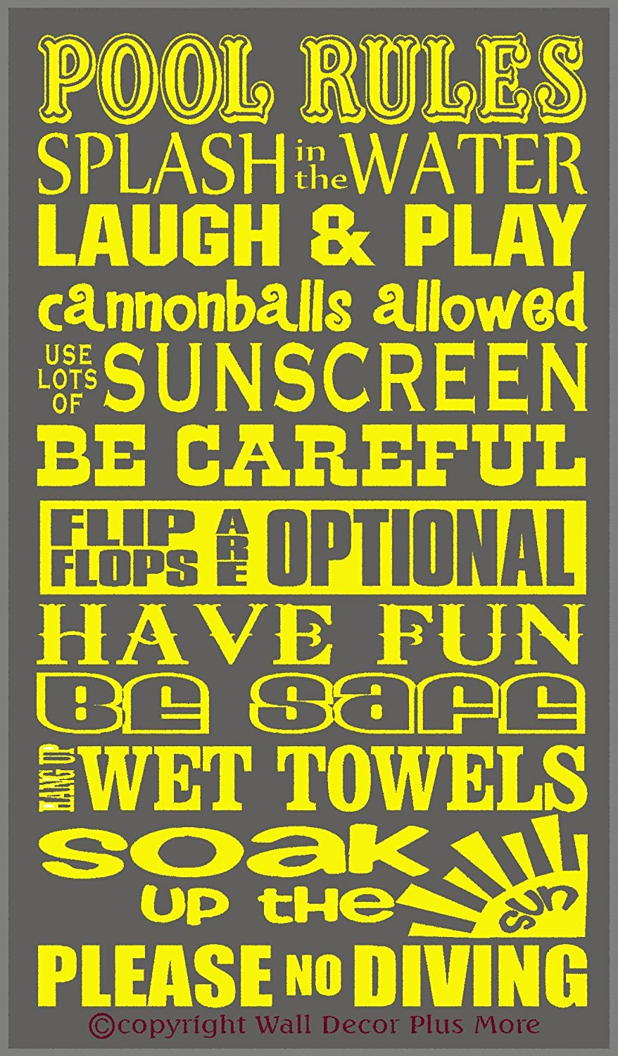Wall Decor Plus More WDPM2907 Pool Rules Subway Art Phrases and ...