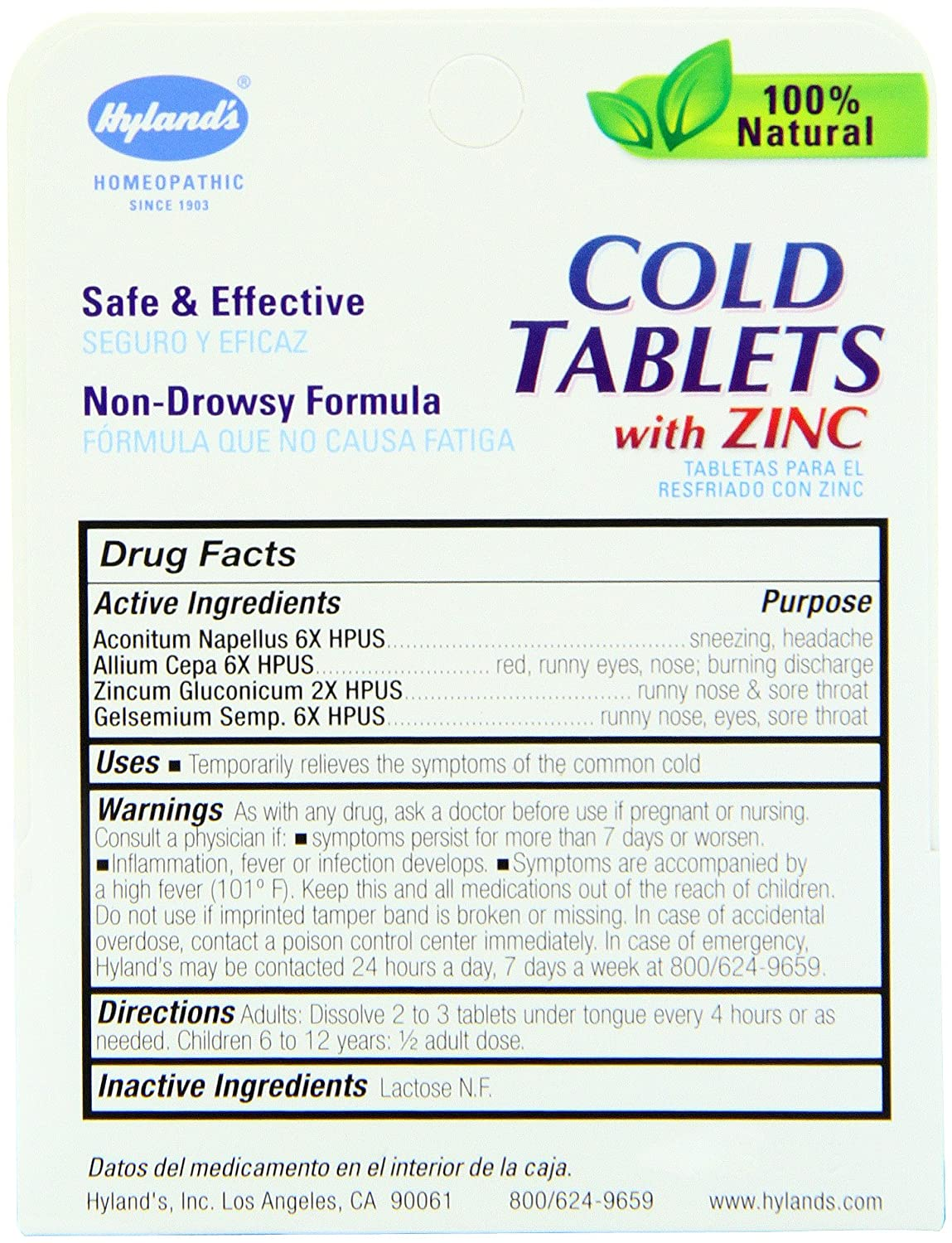 Amazon Com Hyland S Cold Tablets With Zinc Natural Non Drowsy Cold