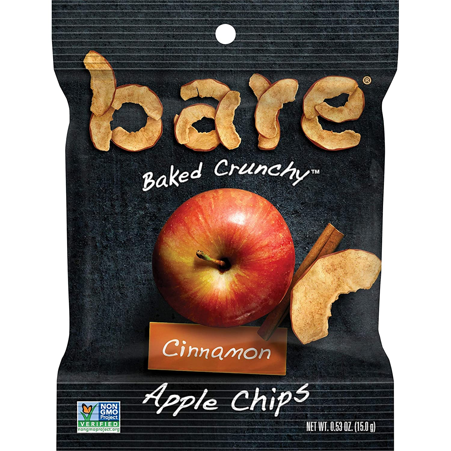 Bare Baked Crunchy Apple Chips, Cinnamon, Gluten Free, 0.53 Ounce Bag, 24 Count