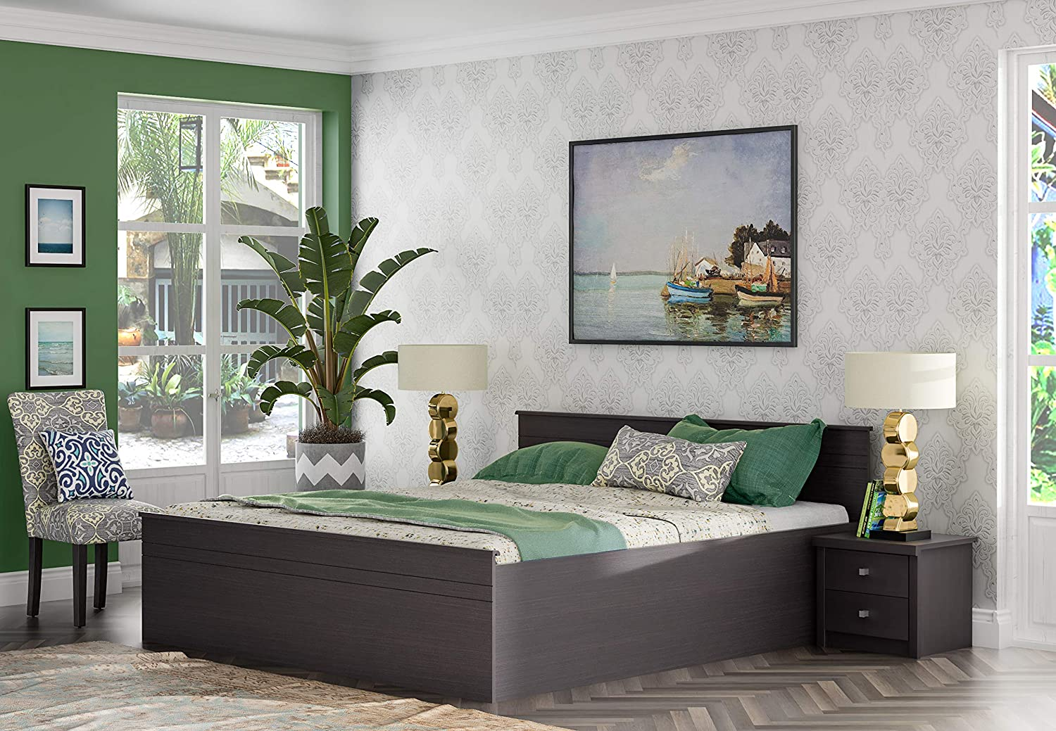 Zuari Timatall King Size Engineered Wood Bed With Box