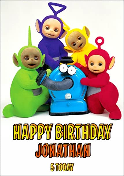 Teletubbies Birthday Card For Children Customized With Your Name And