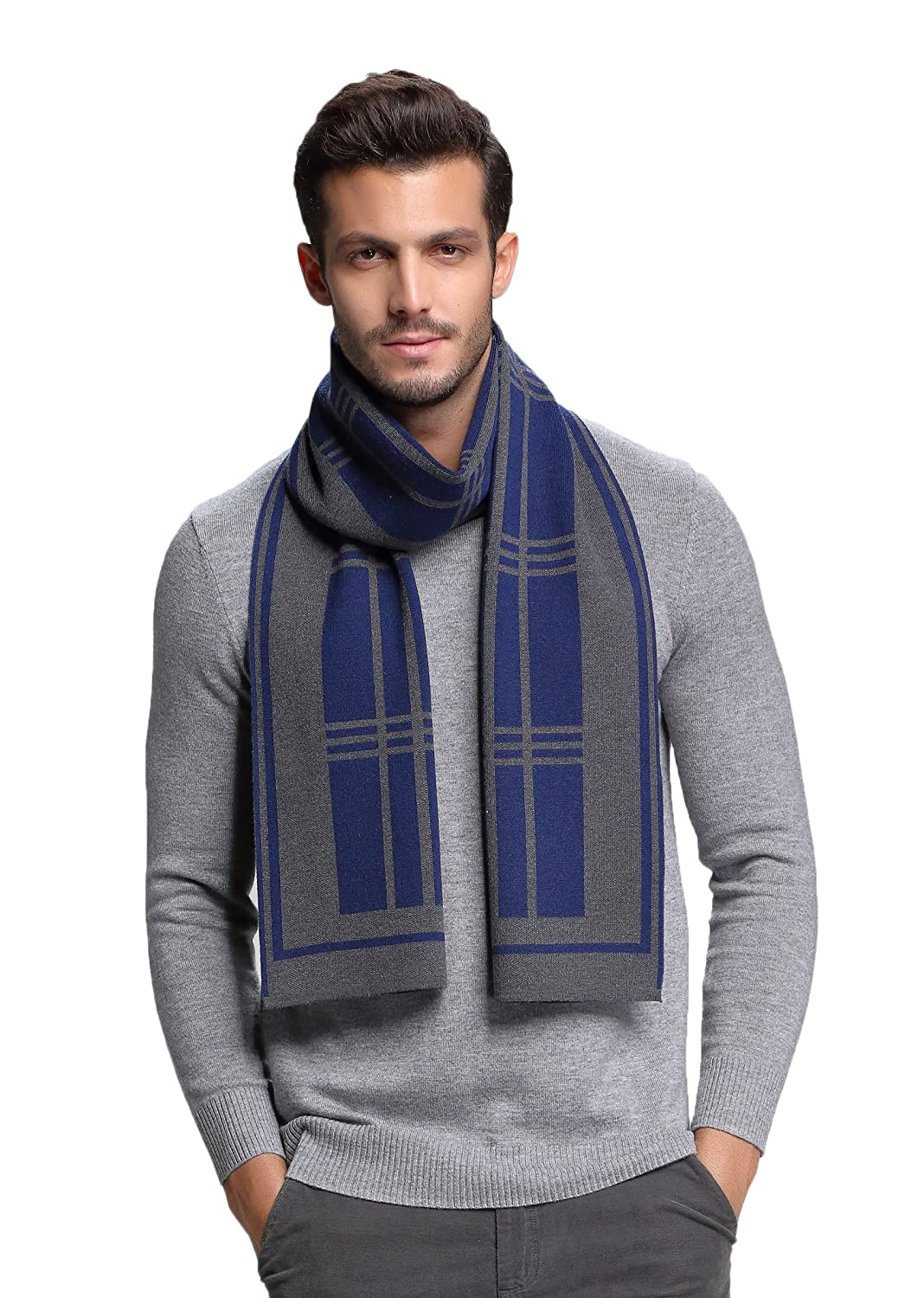 RIONA Men's British Style Wool Blend Knitted Scarf - Winter Soft Warm Neckwear RIW8047Black