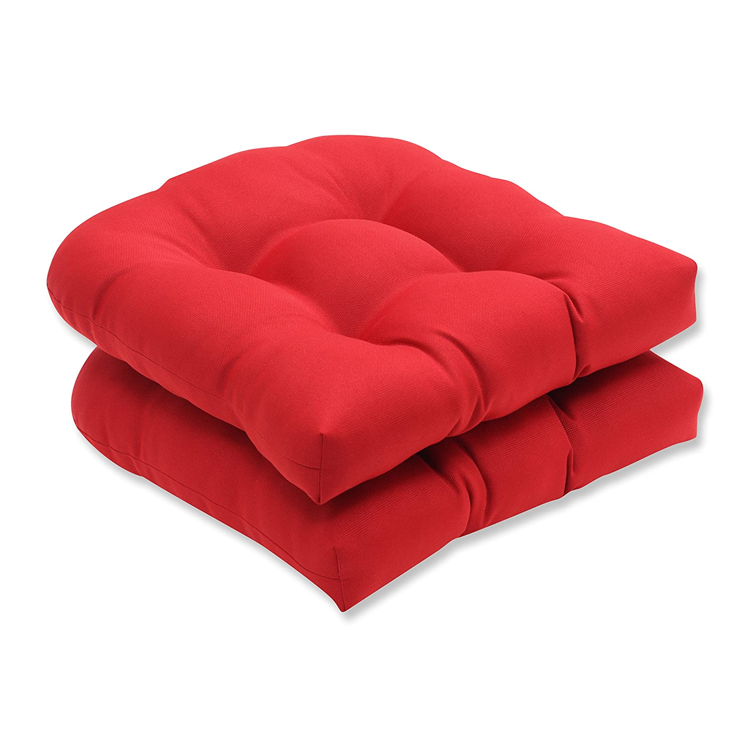 Pillow Perfect Indoor/Outdoor Red Solid Wicker Seat Cushions, 2-Pack - Patio Furniture Cushions Amazon.com