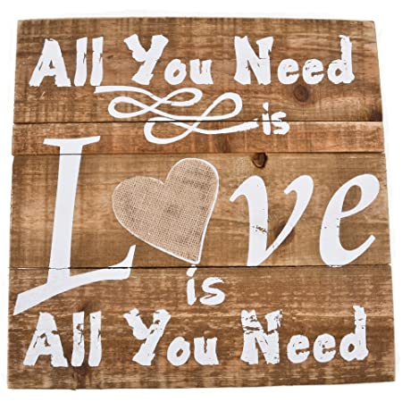 Pared de cartel All You Need is Love Vintage Diseño Madera ...