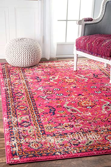 Amazon.com: Contemporary Area Rugs Pink Modern Area Rug Faded Shabby ...