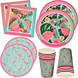 """Flamingo Party Supplies Dinnerware Set 24 9"""" Plates 24 7"""" Plates 24 9 Oz Cups 50 Luncheon Napkins Pink Summer Tropical…"""