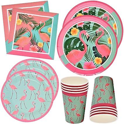 Amazon.com: Flamingo Party Supplies Juego de vajilla de 24 ...