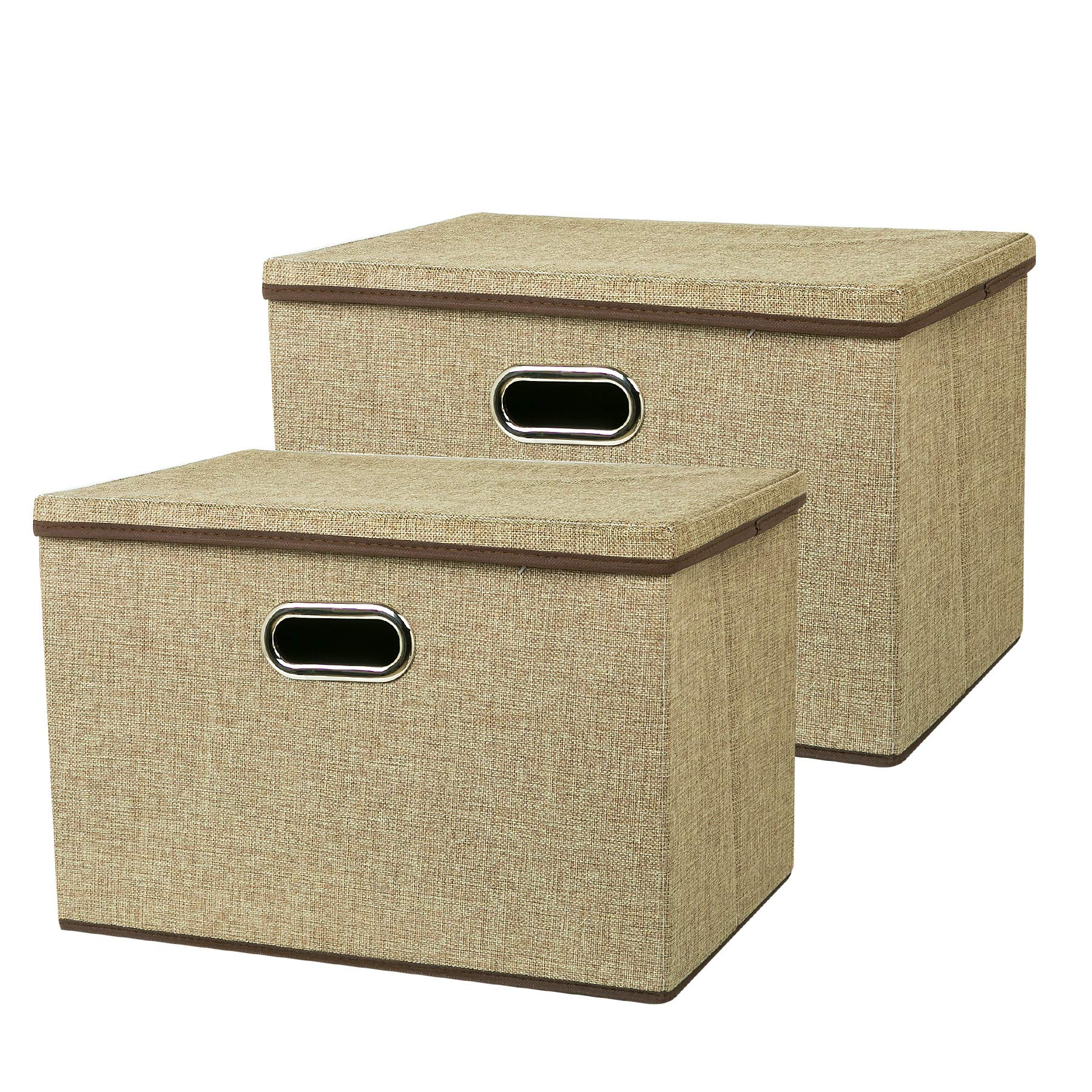 Zonyon Large Storage Box, 17.7'' Sturdy&Strong Collapsible Fabric Storage Bin Container Bakset Home Cube Organizer with Removable Lid for Bedroom,Closet,Shelves,Office,Khaki,2 Packs