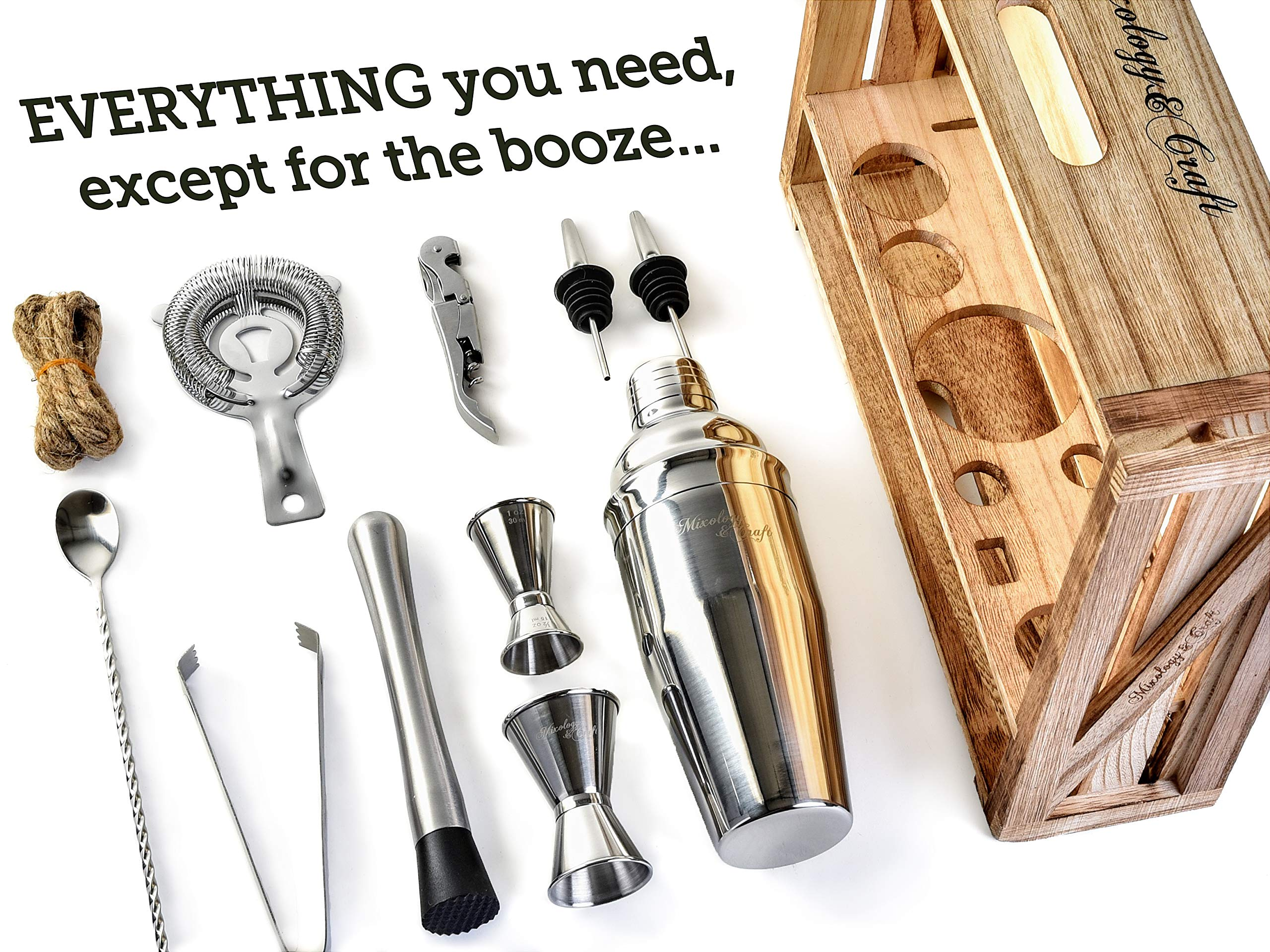 Mixology Bartender Kit: 11-Piece Bar Tool Set with Rustic Wood Stand - Perfect Home Bartending Kit and Cocktail Shaker Set For an Awesome Drink Mixing Experience - Exclusive Cocktail Recipes Bonus by Mixology & Craft (Image #2)