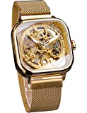 Forsining Fashion Automatic Mechanical Wrist Watch Golden for Men with Stainless Steel Skeleton Transparent Dial with…