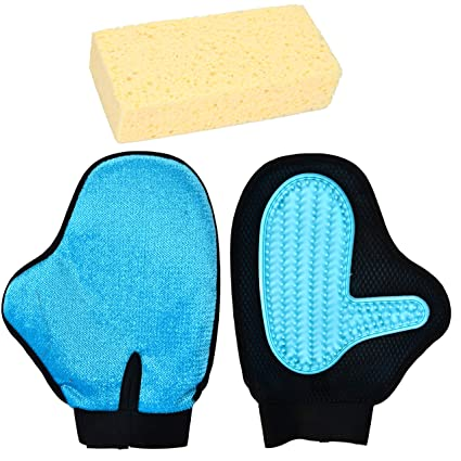 Youngever 2 Pack Pet Hair Remover 2 In 1 Pet Grooming Glove (Grooming Mitt,