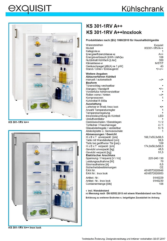 LED Innenbeleuchtung//Umluftventilator Exquisit KS 301-1 RVA+ A++ 169cm hoch//EEK wei/ß//K/ühlschrank ohne Gefrierfach