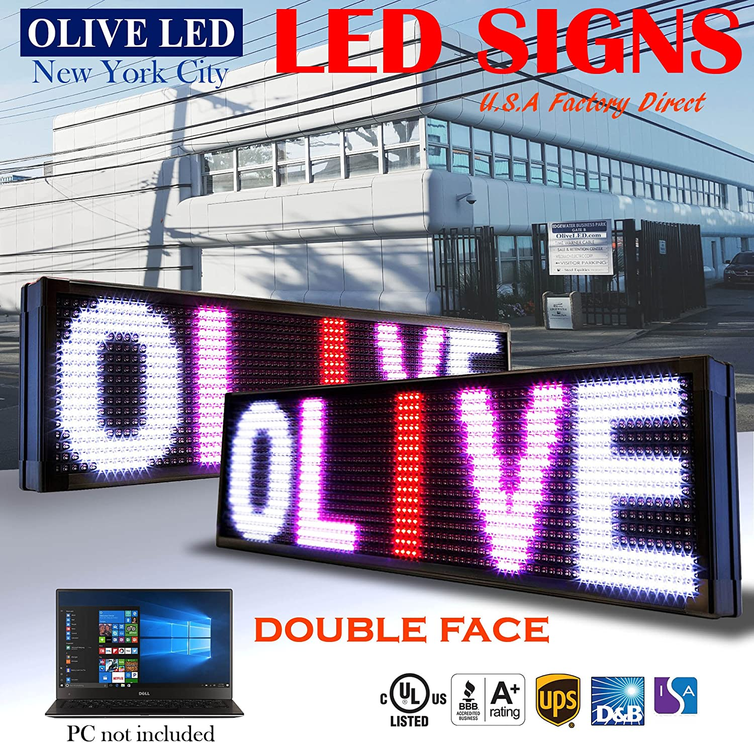 P20 OLIVE LED Sign 3Color RBP 15x91 IR Programmable Scrolling Outdoor Message Display Signs EMC Industrial Grade Business Ad machine.