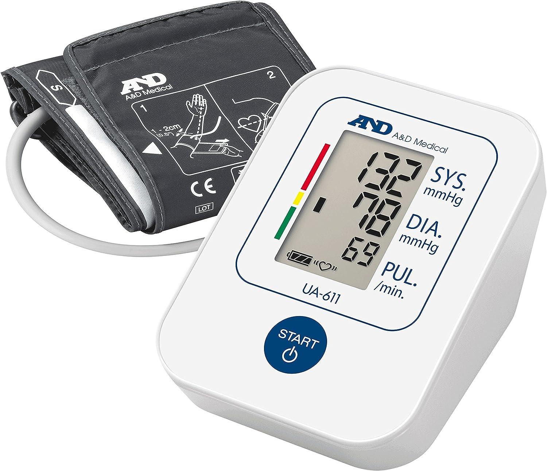 A&D UA-611 Tensiómetro de brazo digital, lecturas de presión arterial rápidas, cómodas y precisas, validado clínicamente
