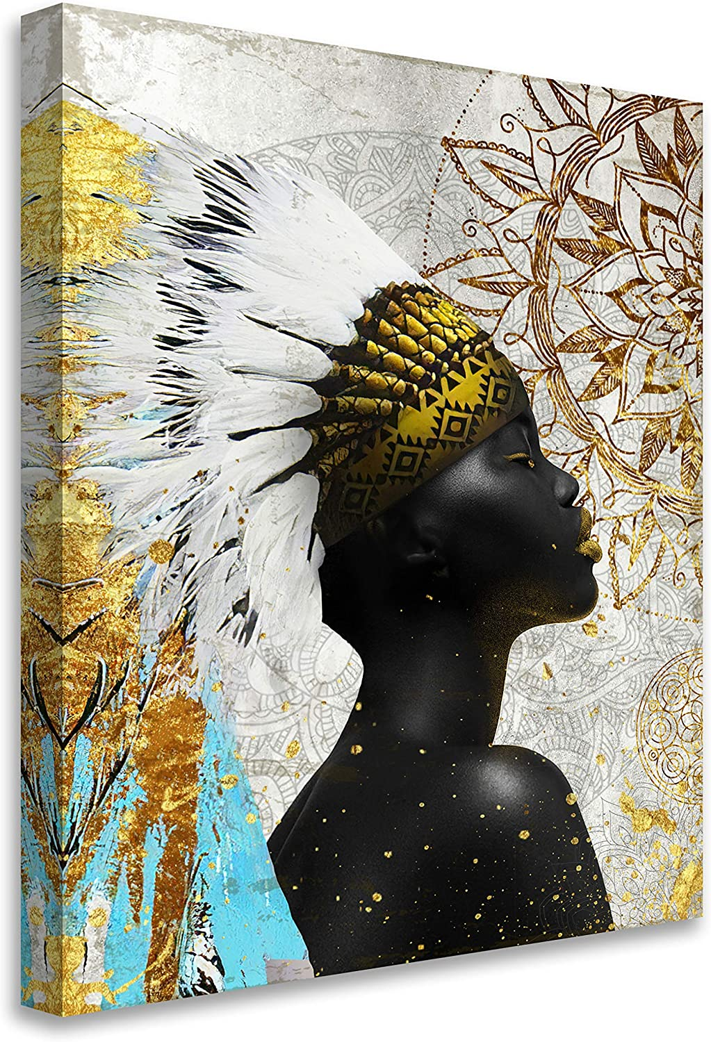 Framed African American Wall Art Black Art Colorful Feathered Native American Women Painting on Canvas Print Wall Picture for Living Room Home Decor Stretched Ready to Hang,11x14in