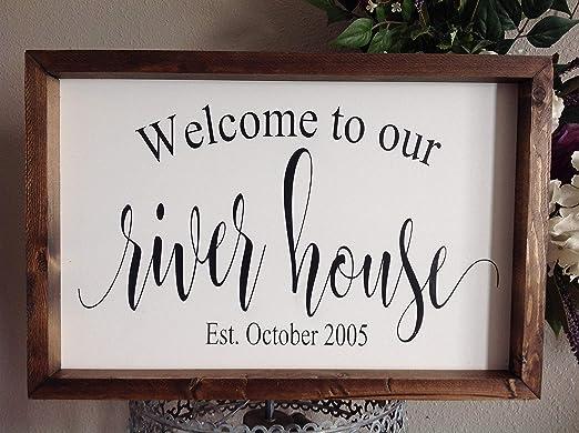 rSYfilpsvy558 Cartel de Bienvenida a Nuestra casa de río ...