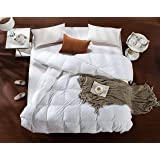 AIKOFUL Down Comforter King/Cali King Size,Solid White Duvet Insert,White Muscovy Down Comforter, 600TC 700Fill Power Cotton Duvet Cover, Double Edge Gray Piping, Hypoallergenic
