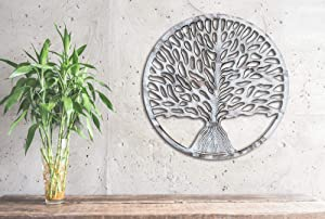 "Eximious India Farmhouse Decor Rustic Whitewash Wooden Tree of Life Modern Wall Art Plaque for Living Room Bedroom and Farmhouse Decoration 24"" Diameter MDF Easy Wall Mount Decor Large Size"