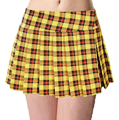 16bcf8ccab98e Yellow Schoolgirl Tartan Plaid Pleated Mini Skirt Unley at Amazon ...