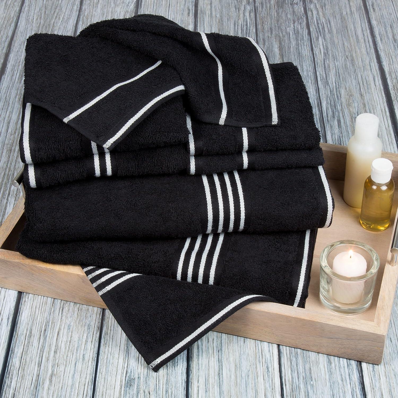 Lavish Home Rio 8 Piece 100% Cotton Towel Set - Black