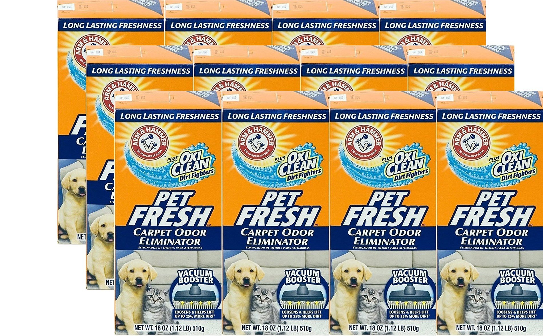 Arm and Hammer Pet Fresh Carpet Odor Eliminator Plus Oxi Clean Dirt Fighters, 16.3 oz, (12 Pack) by Arm & Hammer (Image #1)