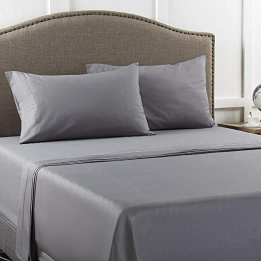 Luxury 100/% Egyptian Cotton Bed Sheet 400TC Fitted Bed Sheet Flat Sheet All Size