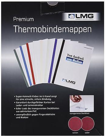 50 Stück Premium Thermobindemappe ledergenarbt matt