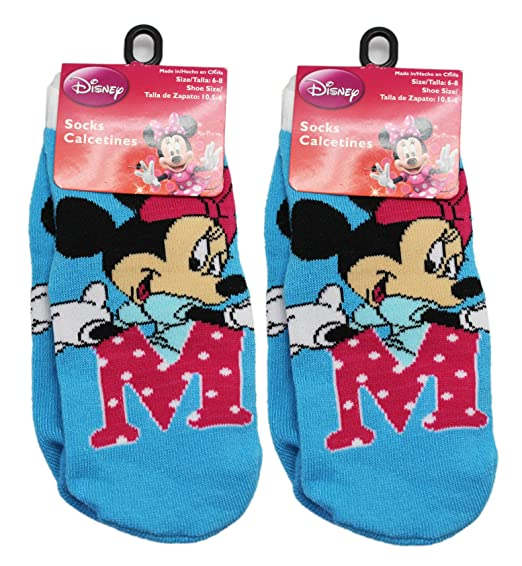 "Disneys Minnie Mouse Large Pink ""M"" Light Blue Kids Socks ..."