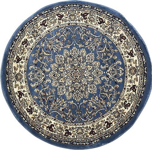 Traditional Round Persian Area Rug Deir Debwan 330,000 Point Blue Design 603 7 Feet 9 Inch X 7 Feet 9 Inch