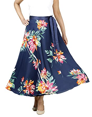 Women's Crepe Printed Maxi Wrap-Around Skirt Tie Closure Free Size Casual Summer Ankle Length/Midcalf Length Skirt