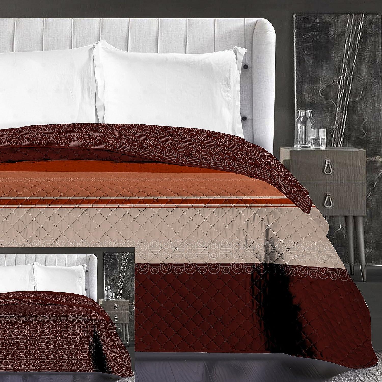 DecoKing Copriletto Trapuntato Reversibile Marrone Rosso Arancione Beige Motivo Geometrico 1 Piazza 170x210 cm Hypnosis Collection Geoffrey