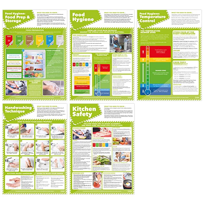 Set Of 5 Food Preparation Kitchen Hygiene Posters Laminated A2 Kitchen Safety Posters Measuring 420 Mm 594 Mm Encouraging Health And Safety