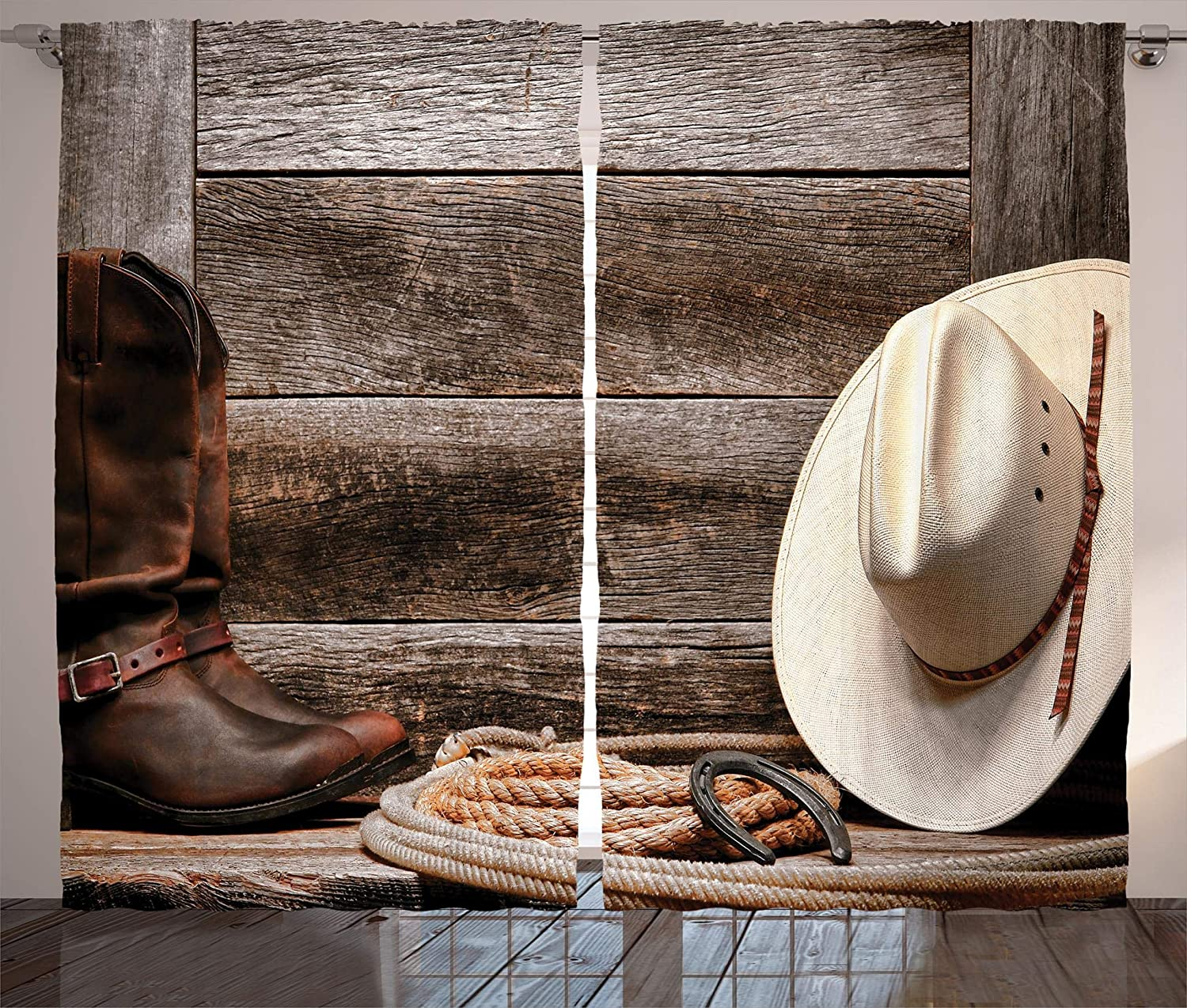 aed6abfe91b Ambesonne Western Decor Collection, American West Rodeo Traditional Straw  Cowboy Hat with Authentic Leather Boots Print, Window Treatments, Bedroom  ...