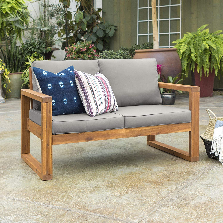 Walker Edison Furniture Company OWOSLSBR Outdoor Love Seat, Loveseat, Brown