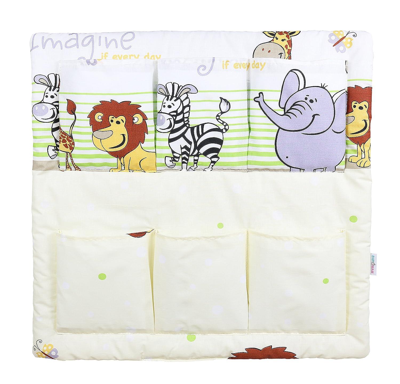 COT TIDY ORGANISER COT BED NURSERY HANGING STORAGE MANY DESIGNS 6 POCKETS BABYMAM ELEPHANTS GREY