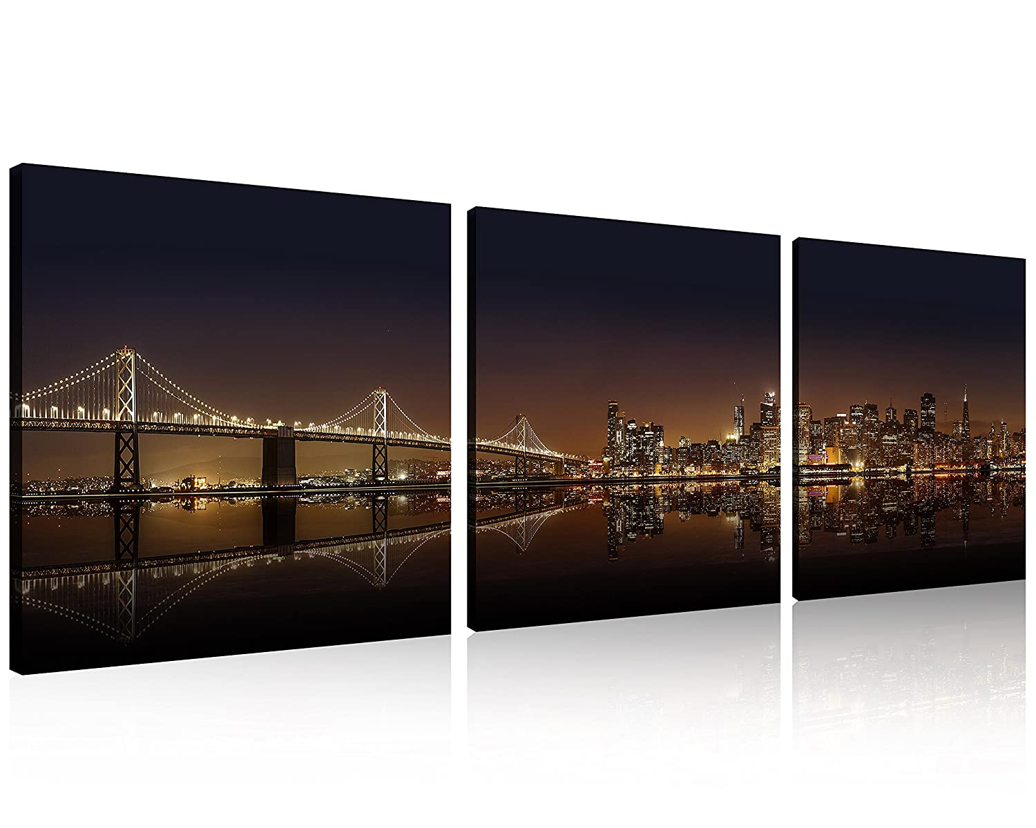 43f7bc16979 QICAI 3 Panel New York Skyline Wall Art New York Wall Art New York  Panoramic View at Night Wall Art Prints On Canvas Cityscape Canvas the  Pictures Stretched ...